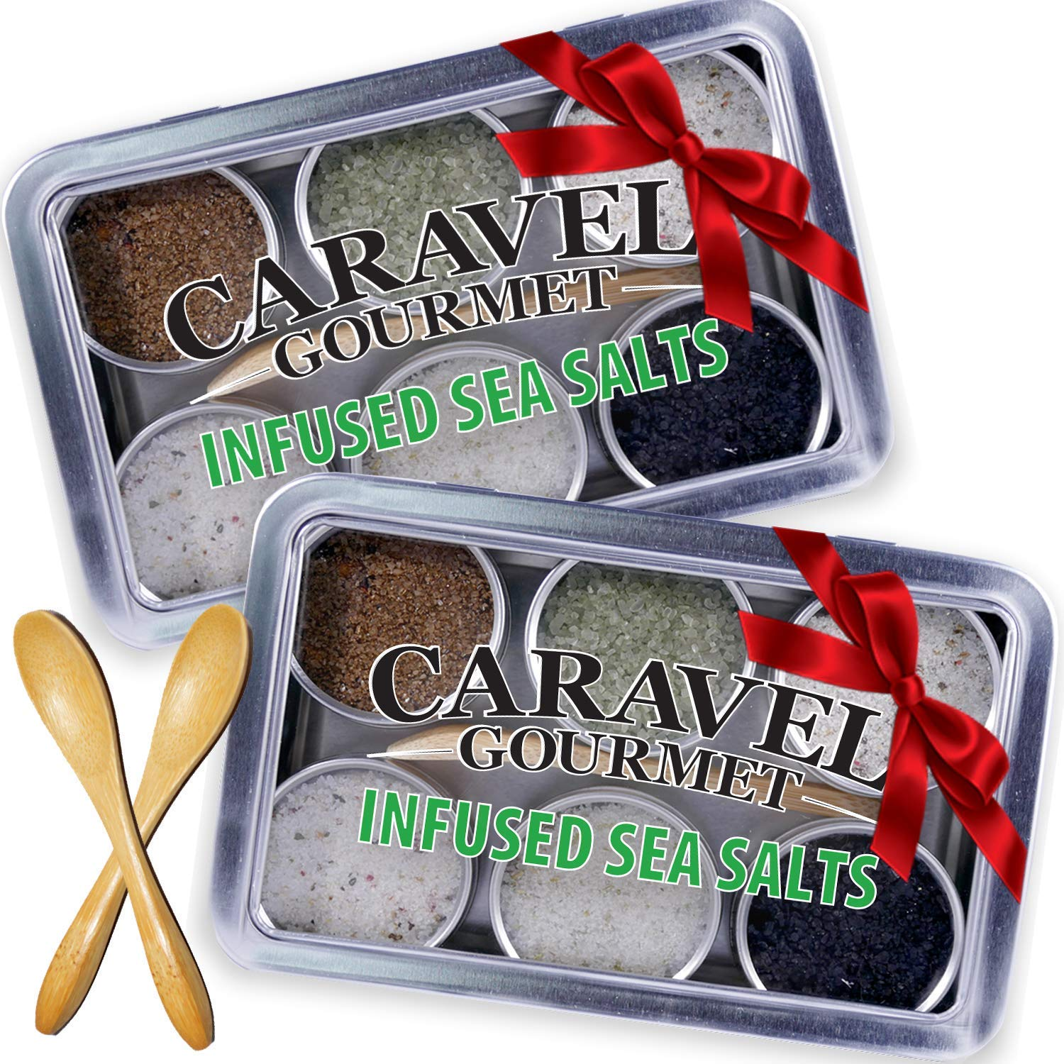 Sea Salt Gift Set - Infused Salt Sampler Collections - 2 each of 6 Flavors and Bamboo Spoons - Great Gifts for Everyone - by Caravel Gourmet