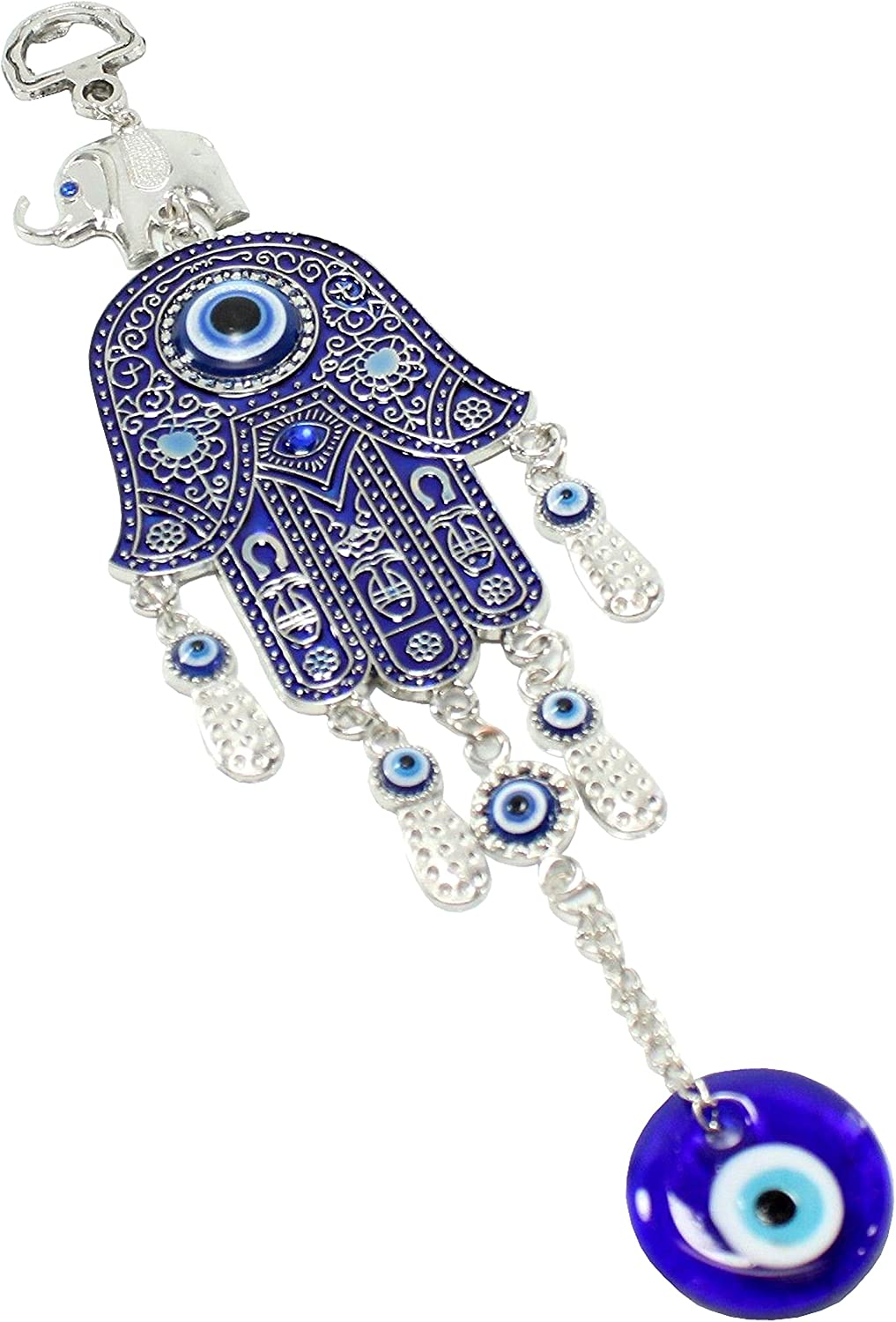 "Turkish Blue Evil Eye (Nazar) 2.5"" Hamsa Hand Elephant Amulet Wall Hanging Home Decor Protection Good Luck Blessing Housewarming Birthday Gift US Seller"