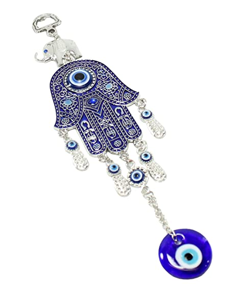Set of 5 Blue Evil Eye Hamsa Hand Elephant Keychains Wall Hanging Amulets Good Luck Gift