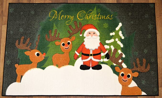 Amazon.com : Ottomanson Christmas Doormat Non Slip Rectangular 24 ...