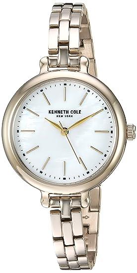 Kenneth Cole New York - Reloj de cuarzo para mujer, acero inoxidable, color dorado