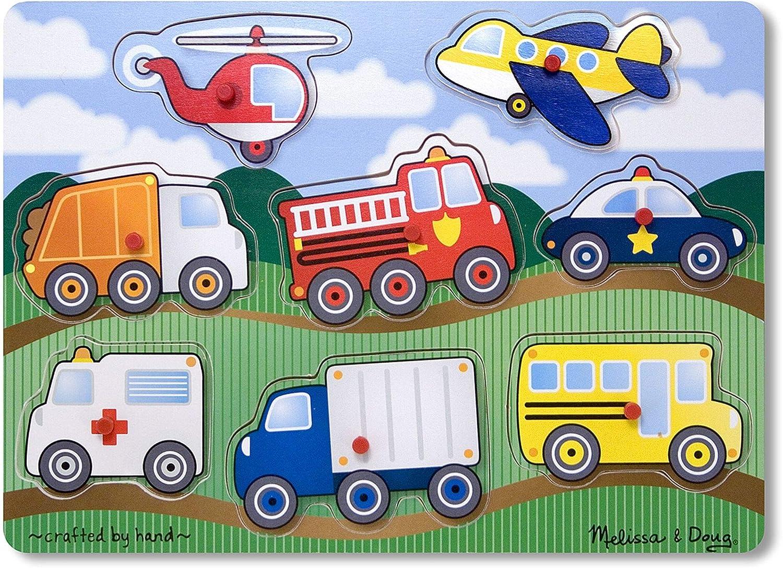 Melissa & Doug Vehicles Peg Puzzle – 8pcs