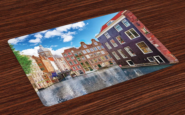 ABAKUHAUS Amsterdam Platzmatten, Alte Gebäude der Niederlande mit bunten Fenstern unter dem bewölkten blauen Himmel, Tiscjdeco aus Farbfesten Stoff für das Esszimmer und Küch, Mehrfarbig