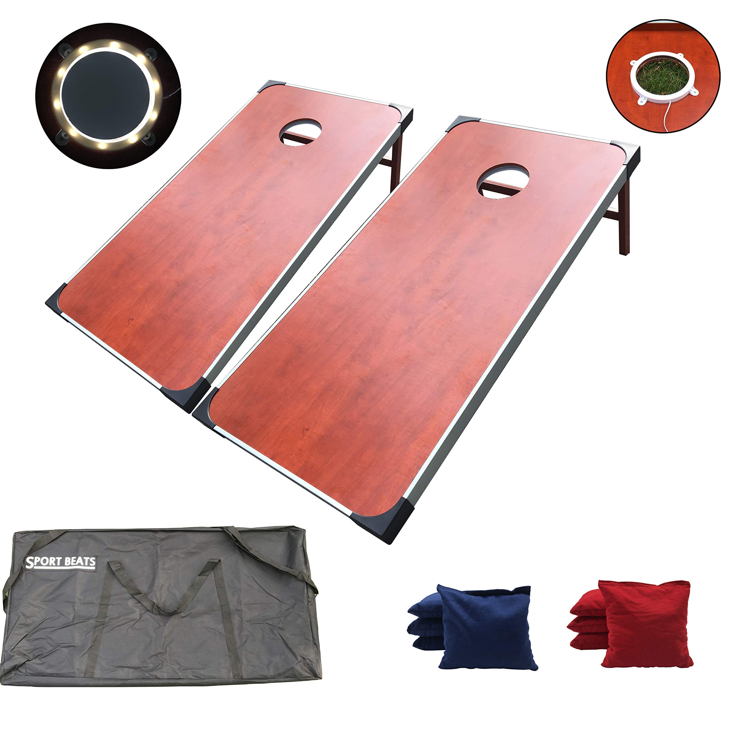 SPORT BEATS Regulation Cornhole Boards with Lights Aluminum Framed Cornhole Set - 2 x 4 Ft Tournament Size Wood Corn Hole Board Game Carrying Bag Included