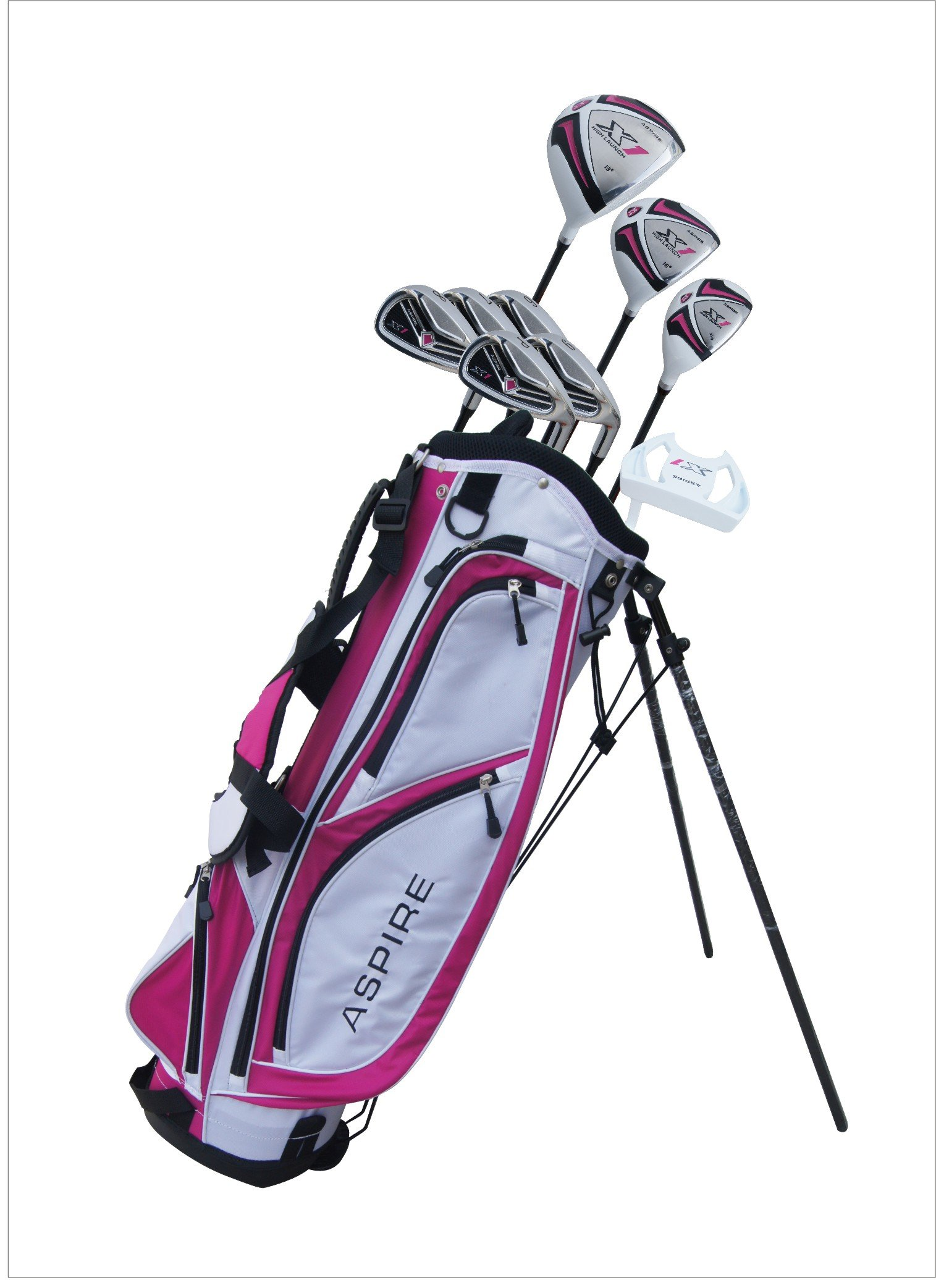 Aspire X1 Ladies Womens Complete Right Handed Golf Clubs Set Includes Driver, Fairway, Hybrid, 6-PW Irons, Putter, Stand Bag, 3 H/C's Cherry Pink Petite Size for Ladies 5'3'' and Below! by Aspire (Image #2)