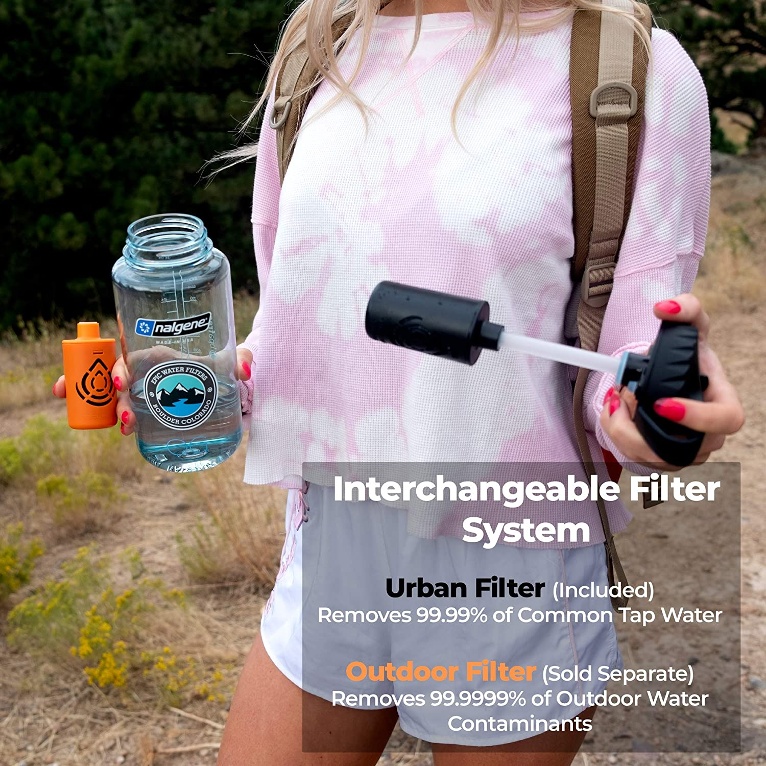 USA Made Filter Removes 99.99/% of Tap Water Contaminants Lead Chlorine Chromium 6 Arsenic Chloroform Wide Mouth 32 oz Epic Nalgene OG Water Filtration Bottle American Made Bottle