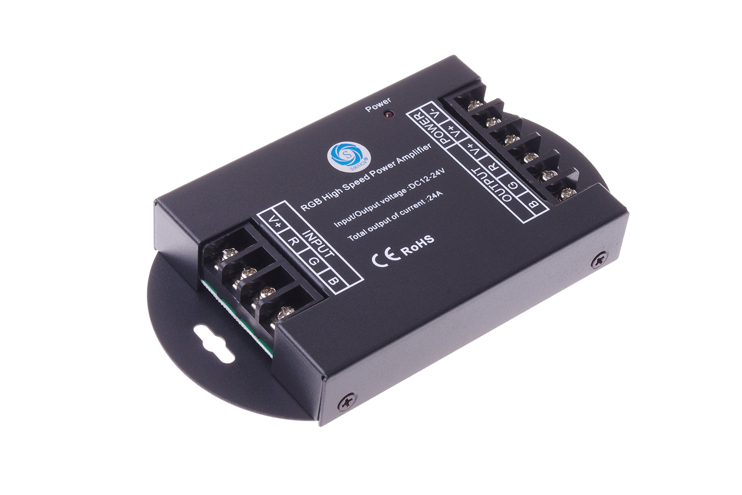 SMAKN® RGB High Speed Power Amplifier 24A Data Signal Repeater 3CH Channels For 5050 LED Lights Strip