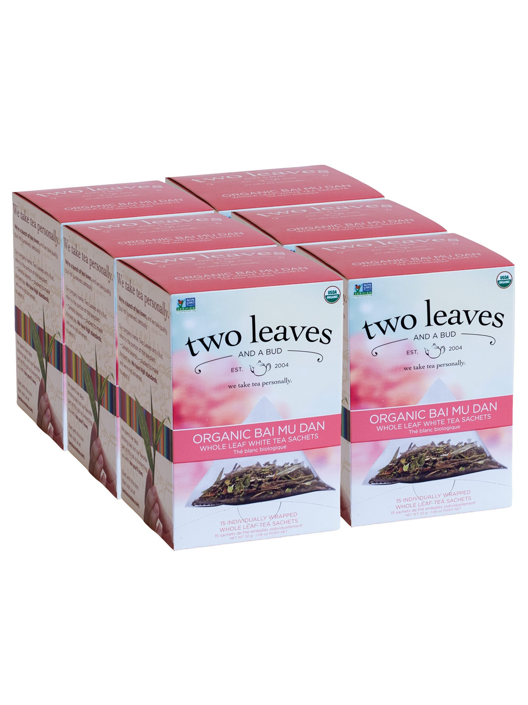 Two Leaves and a Bud Organic Bai Mu Dan White Tea Bags, 15 Count (Pack of 6) Organic Whole Leaf White Tea in Pyramid Sachet Bags, Delicious Hot or Iced with Milk or Sugar or Honey or Plain