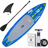 "TOWER Inflatable 10'4"" Stand Up Paddle Board - (6 Inches Thick) - Universal SUP Wide Stance - Premium SUP Bundle (Pump & Adju"