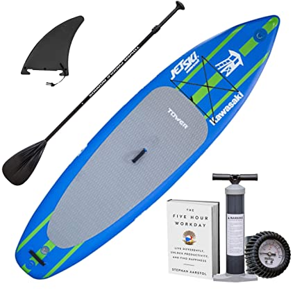 """Tower Inflatable 10 4"""" Stand Up Paddle Board - (6 Inches Thick) - Universal  SUP Wide Stance - Premium SUP Bundle (Pump   Adjustable Paddle Included) ... 2194f69644"""