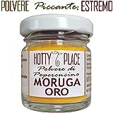 MORUGA ORO Polvere Peperoncino Piccante ESTREMO Miglior sapore tra SUPER PICCANTI valutati da Hotty Place, Yellow Trinidad Scorpion 10g vaso vetro