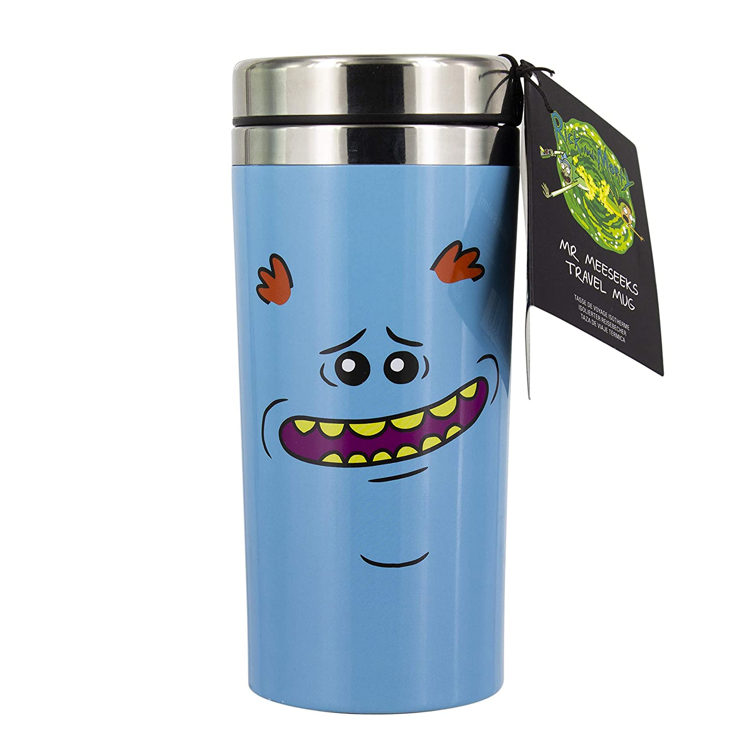 Multi Rick /& Morty PP4840RM Tazza da Viaggio MR Meeseeks aluminio