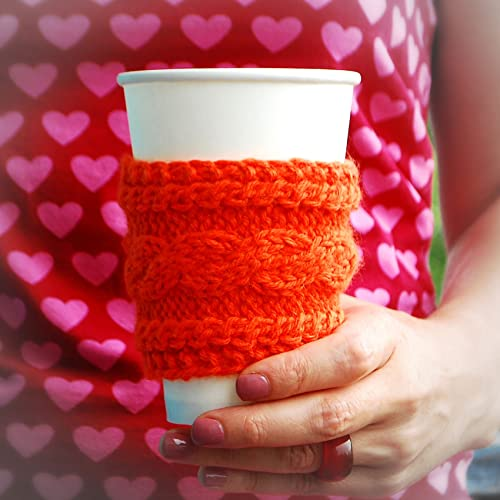 Amazon Orange Braid Pattern Coffee Cozy Knitted Coffee Sleeve