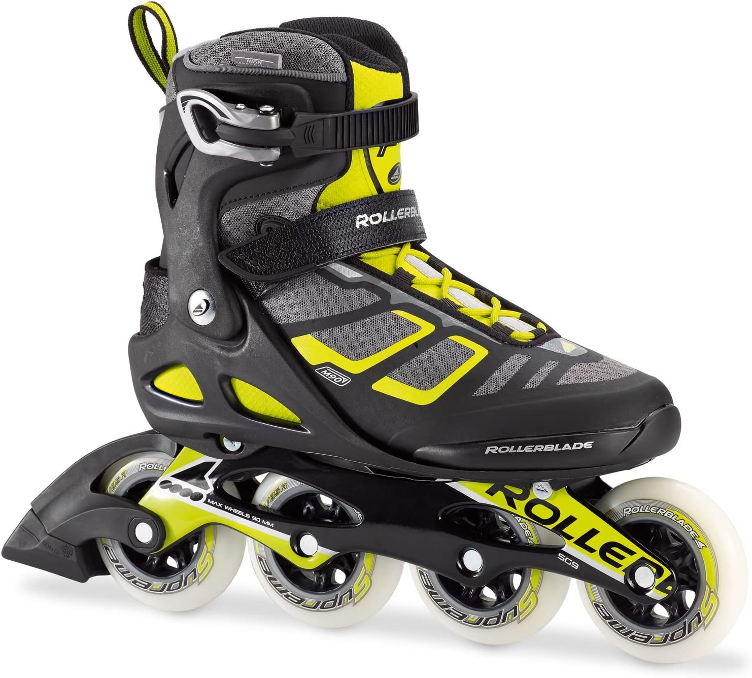 Rollerblade Macroblade 90 Alu Men s Adult Fitness Inline Skate, Black and Lime, High Performance Inline Skates