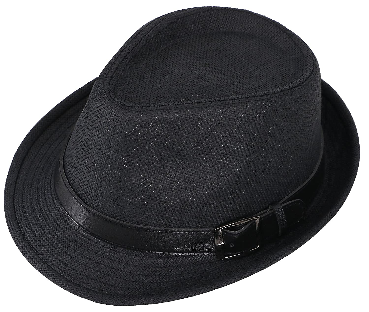 Simplicity Panama Style Trilby Fedora Straw Sun Hat with Leather Belt at  Amazon Men s Clothing store  f7ebc3a32528