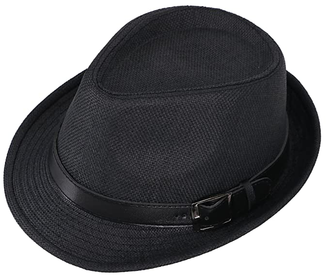 Hemantal Men   Women s Miami Structured Straw Fedora Hat w PU Leather Band  Black Hat 984979f1ba81