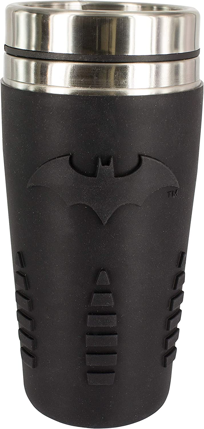 Paladone PP4380BM Batman Travel Mug | Reuseable Commuter Cup Coffee & Tea Flask | Easy Clean | Double Walled Insulation | 450ML Capacity | Spill Proof, Black, 9 x 9 x 18 cm