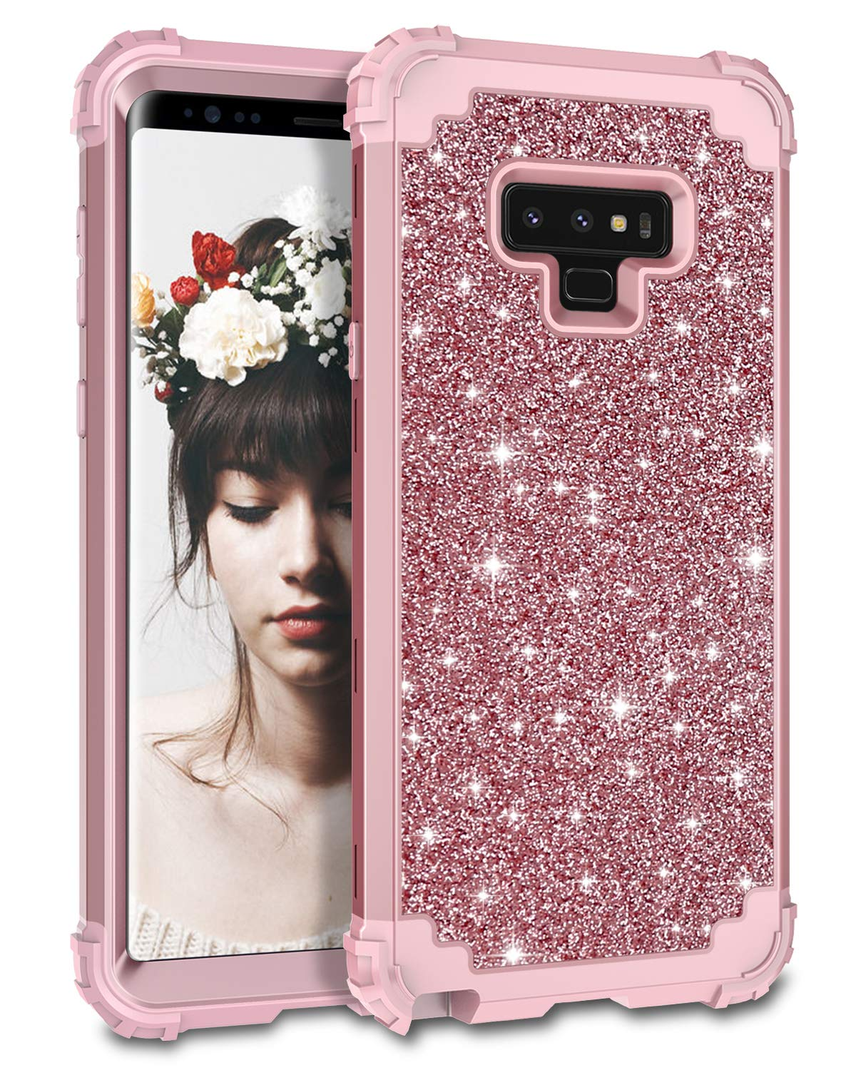 cf02a071ed2 Lontect Compatible Galaxy Note 9 Case Luxury Glitter Sparkle Bling Heavy  Duty Hybrid Sturdy Armor High Impact Shockproof Protective Cover Case for  Samsung ...