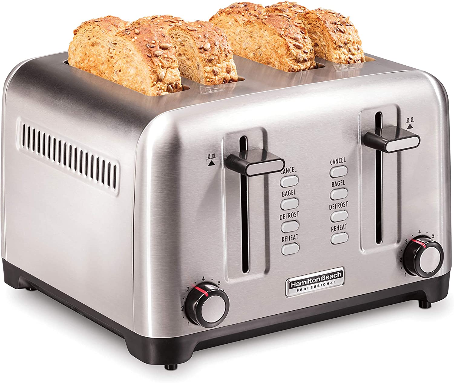 Hamilton Beach Professional 4 Slice Toaster, with Bagel, Defrost & Reheat Settings, Stainless Steel (24990)