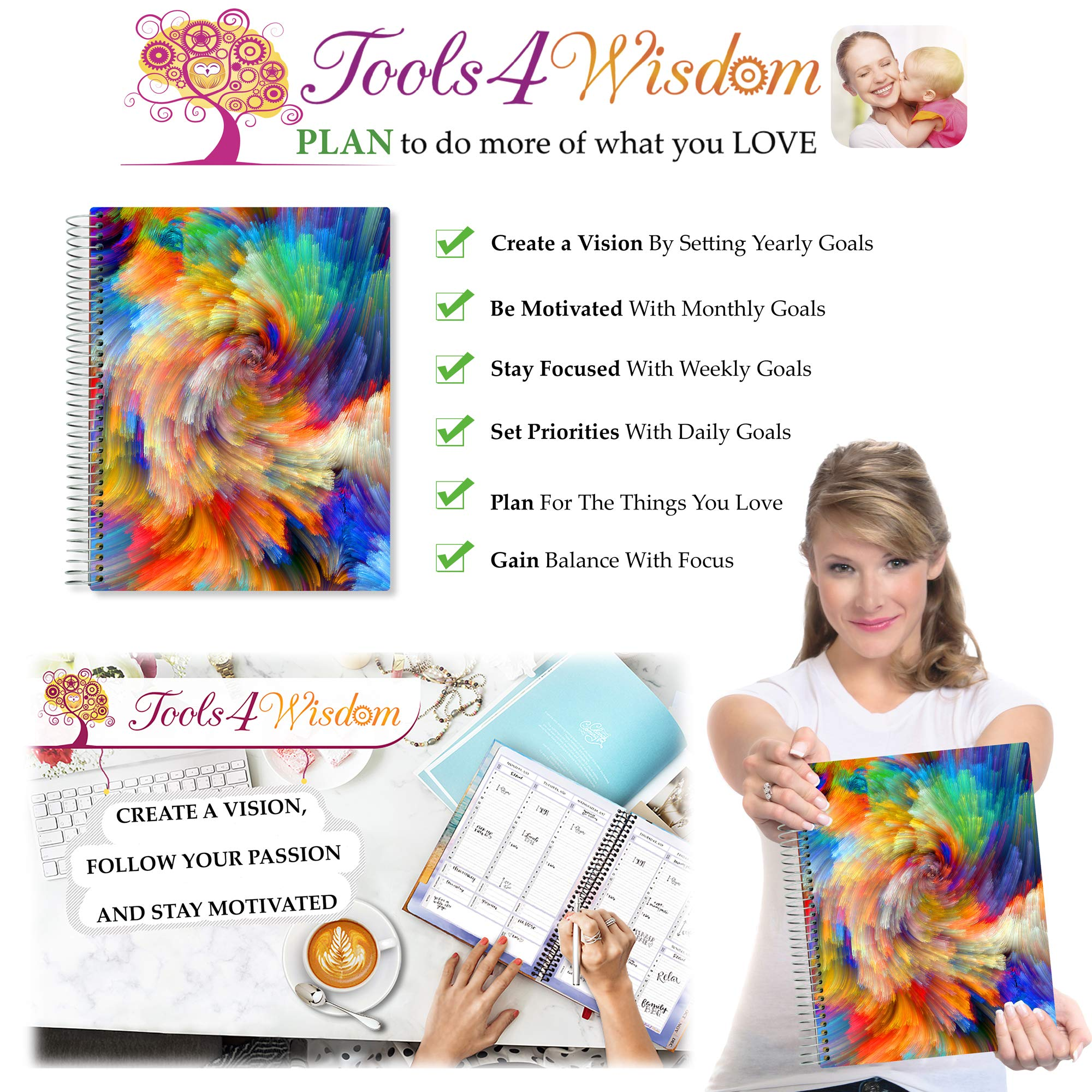 Tools4Wisdom April 2019-2020 Planner - Daily Weekly Monthly Academic Planner Calendar Year - 8.5'' x 11'' Hardcover by Tools4Wisdom (Image #9)