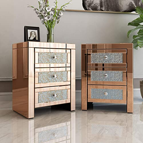 Mecor Mirrored end Table 3 Drawers Mirror Accent Side Table Golden Finished Nightstand Set of 2 - a good cheap living room table