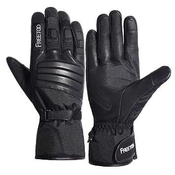 FREETOO Winter Handschuhe für Herren und Damen wasserdichte Warme Handschuhe mit Ziegenleder, Touchscreen Motorrad Handschuhe für Outdoor Arbeiten