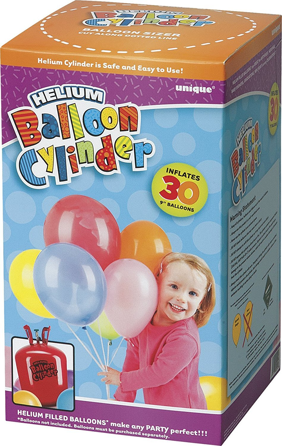 Unique Party 80016 - Small Disposable Helium Canister to fill 30 x 9' Helium Balloons