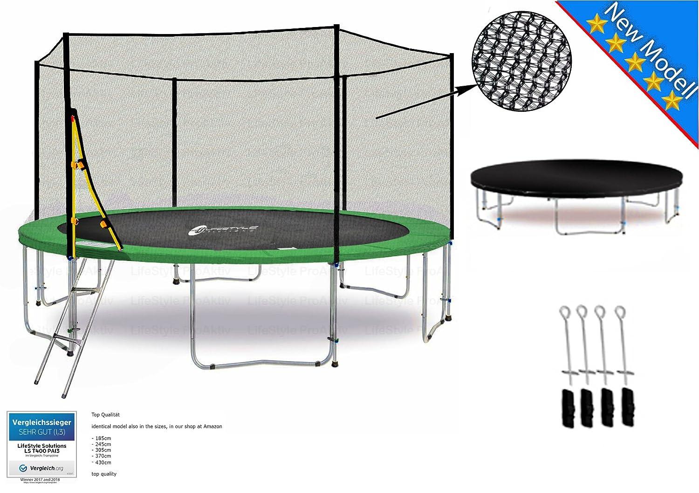 LS-T370-PA12 (G) LifeStyle ProAktiv Garten- Trampolin 370 cm - 12ft - Extra Starkes Sicherheitsnetz - 180kg Traglast - Neu