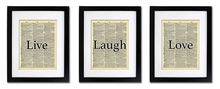 Amazoncom Live Laugh Love 3 Print Set Vintage Dictionary Print