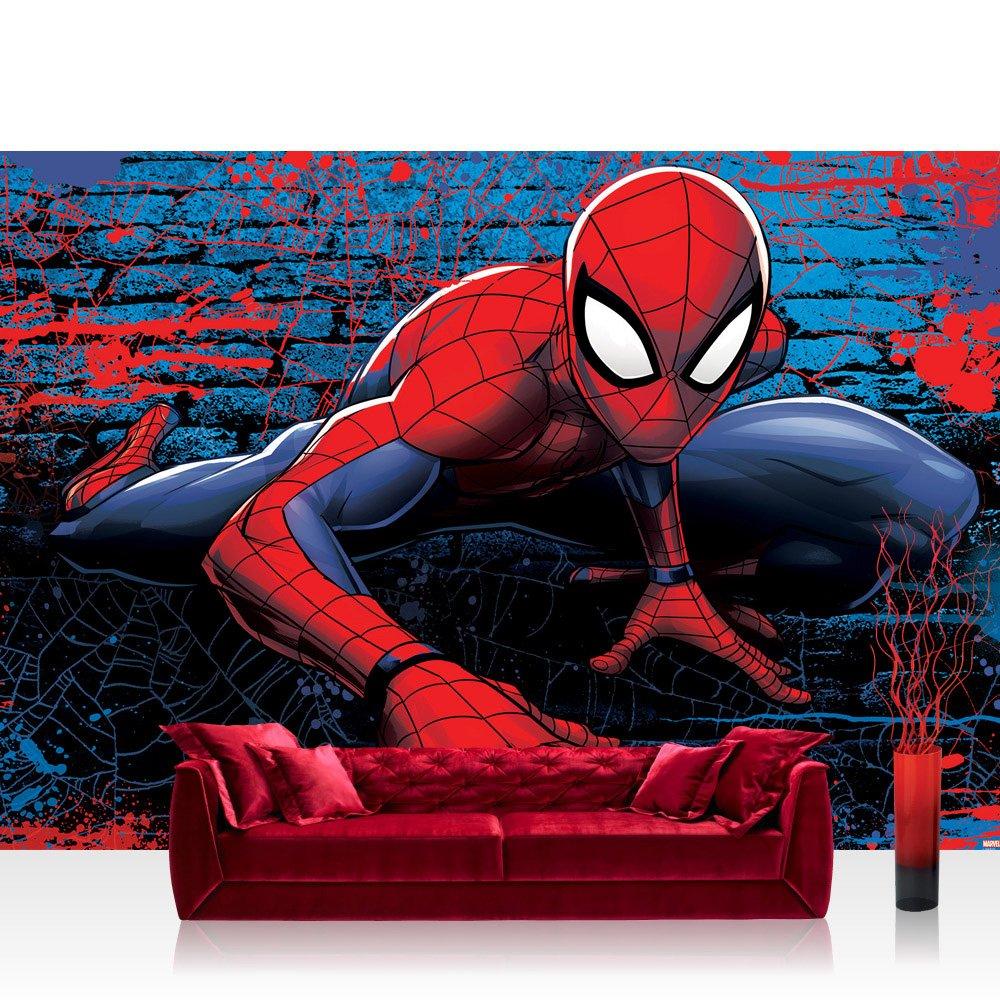 Vlies Fototapete 368x254cm PREMIUM PLUS Wand Foto Tapete Wand Bild Vliestapete - Marvel - SPIDERMAN Tapete Marvel Spiderman Cartoon rot - no. 3374