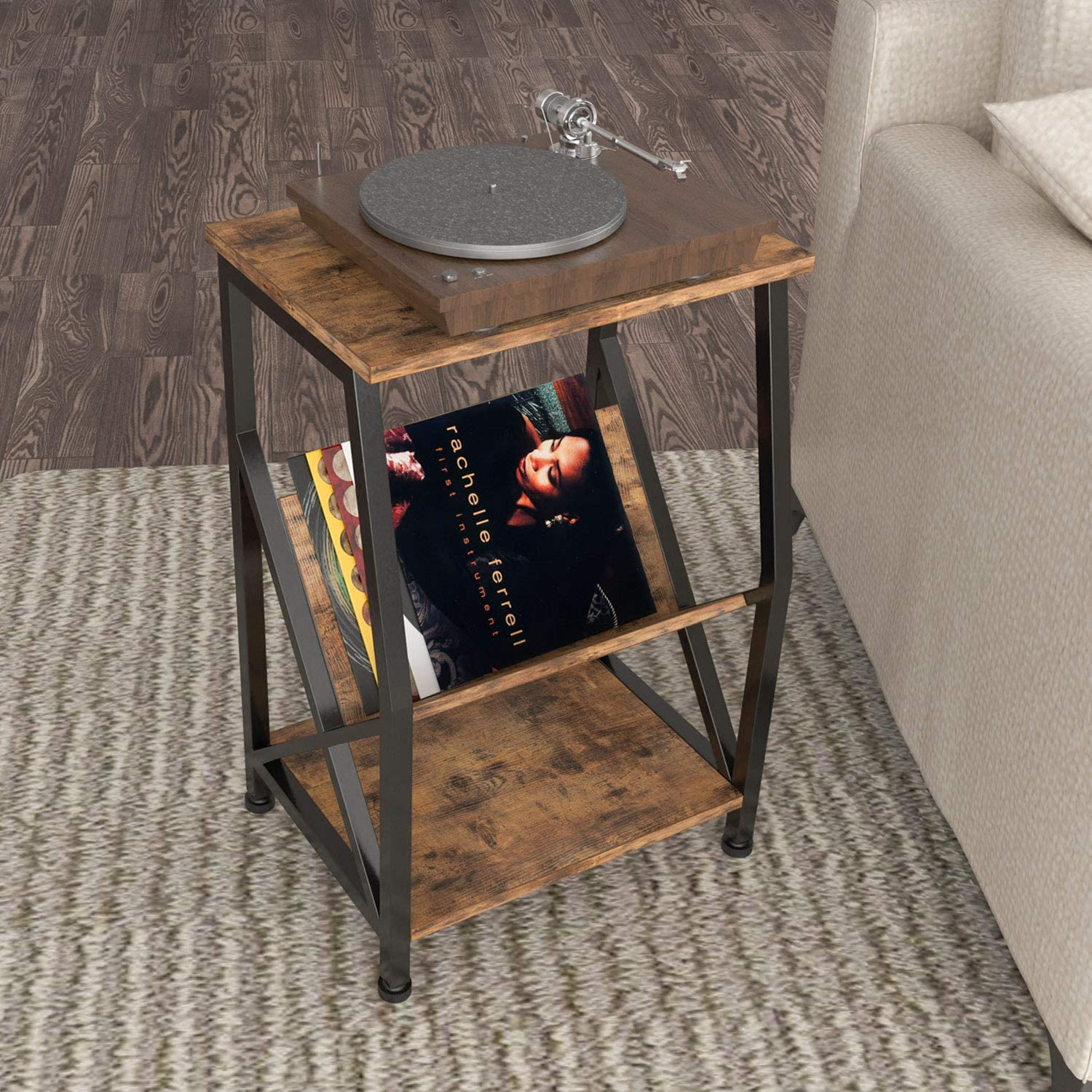 IRONCK Nightstand Side Tables Living Room, Record Player Stand with Storage Shelf Wood Look Industrial End Table, MDF Board with Metal Frame, Vintage Brown