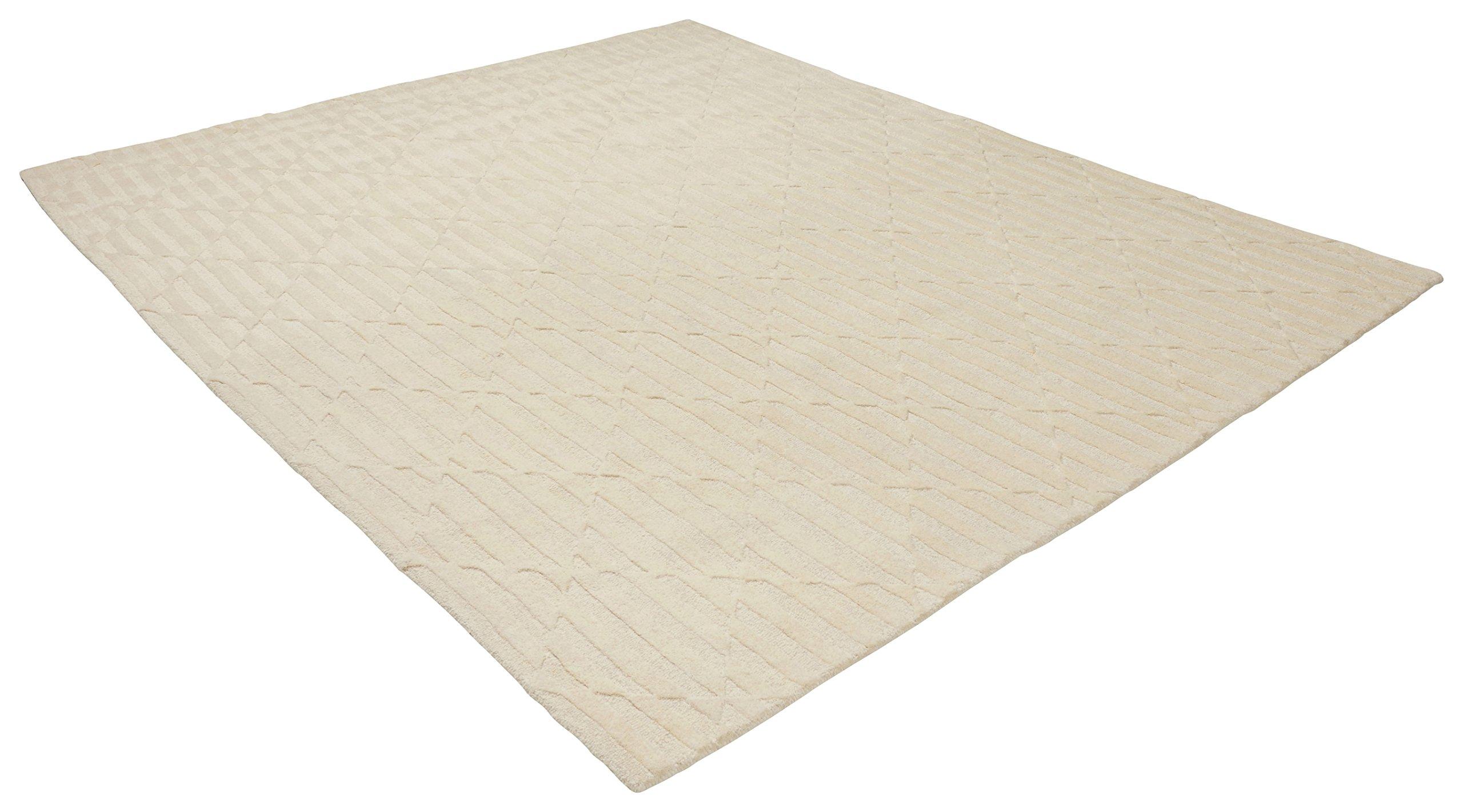 Rivet Geometric Criss-Cross Woven Wool Area Rug, 8' x 10', Cream by Rivet (Image #4)