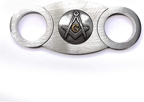 GIFT BOXED Cigar Cutter Freemason Masonic Guillotine Stainess Steel NEW