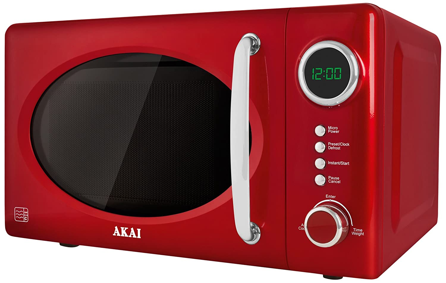 Akai A24009 Digital Solo Microwave with 5 Power Levels, 700 W, 20 Litre, Metallic Red