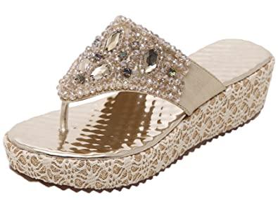 800538433cb34 Bigtree Womens Flip Flop Slippers Summer Vacation Beach Shiny Rhinestones  Bead Wedge Sandals Gold 4.5 B