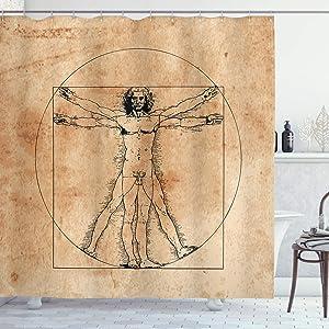 Ambesonne Human Anatomy Shower Curtain, Medieval Vitruvian Man Crosshatching Famous Italian Painting Renaissance Body Art, Cloth Fabric Bathroom Decor Set with Hooks, 70