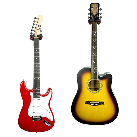 RockJam Paquete de dos - Colgador de guitarra universal para montar en la pared, base de madera, acústico, eléctrico, bajo: Amazon.es: Instrumentos ...