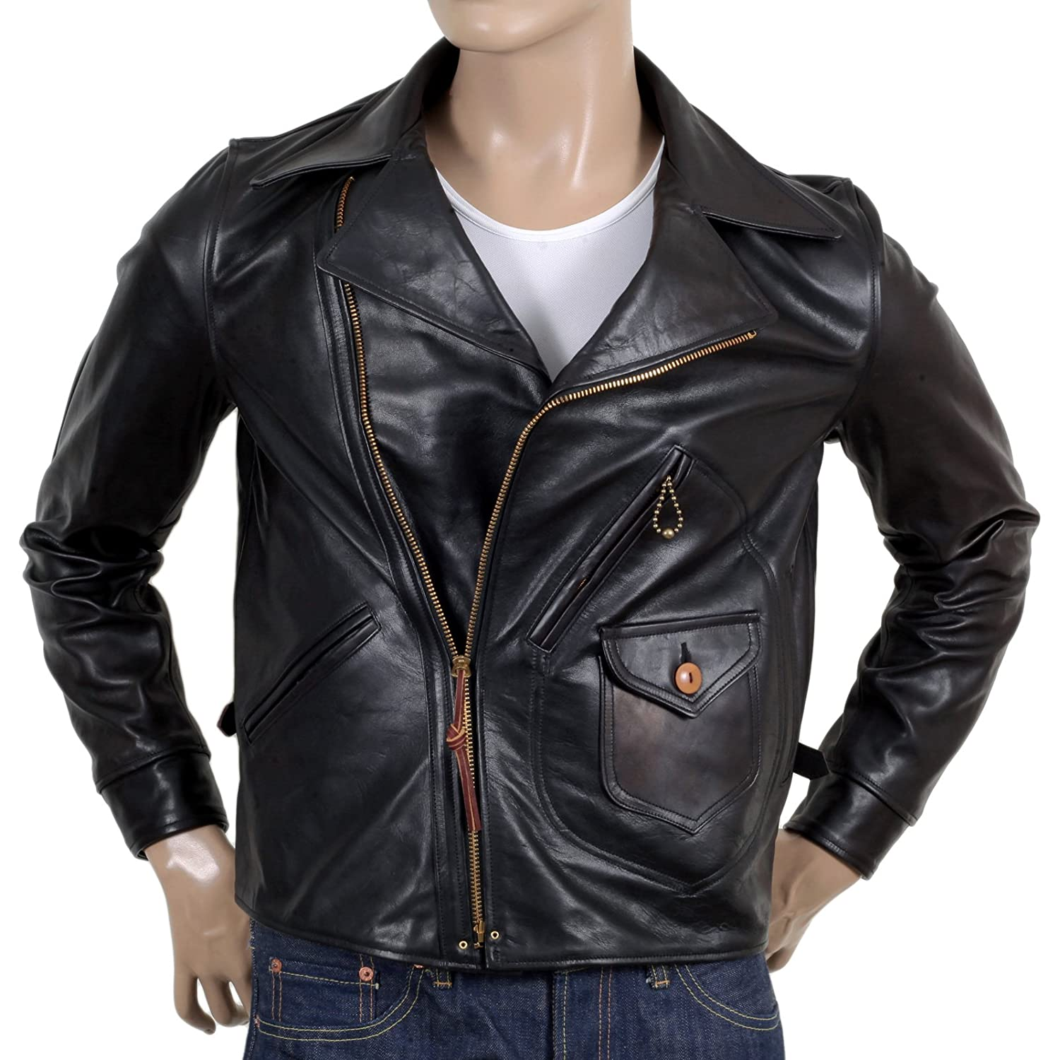6802ae5a187 Amazon.com  Sugar Cane Mens Leather Black Horsehide Aviator Jacket  CANE5802  Clothing