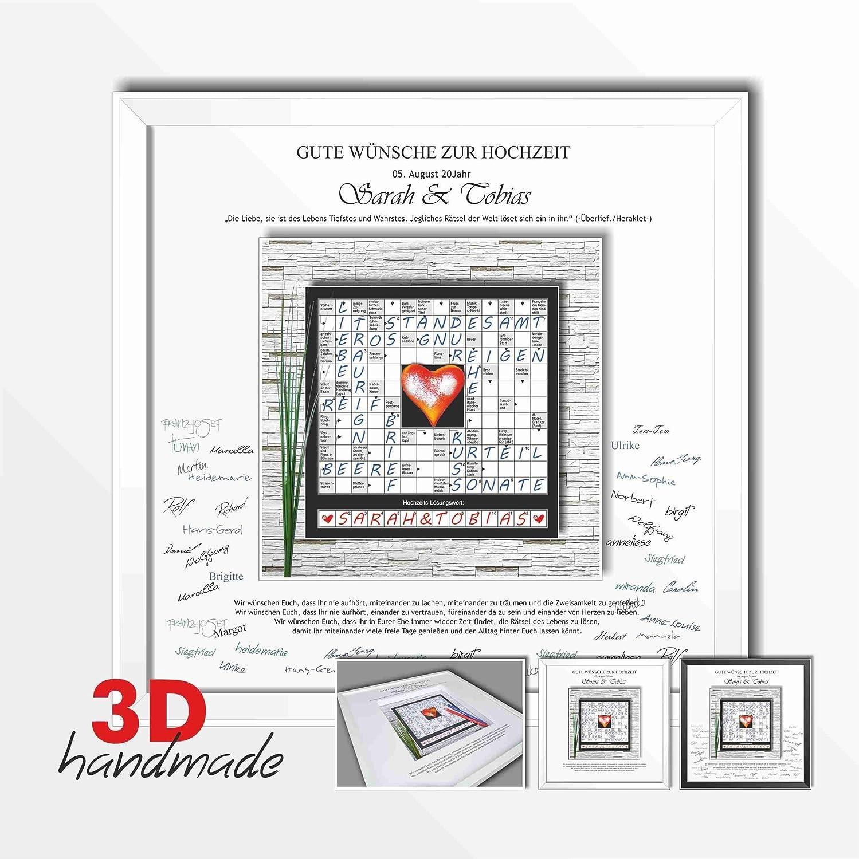 Bilderrahmen Hochzeit Gästebuch Worte Rätsel: Amazon.de: Handmade