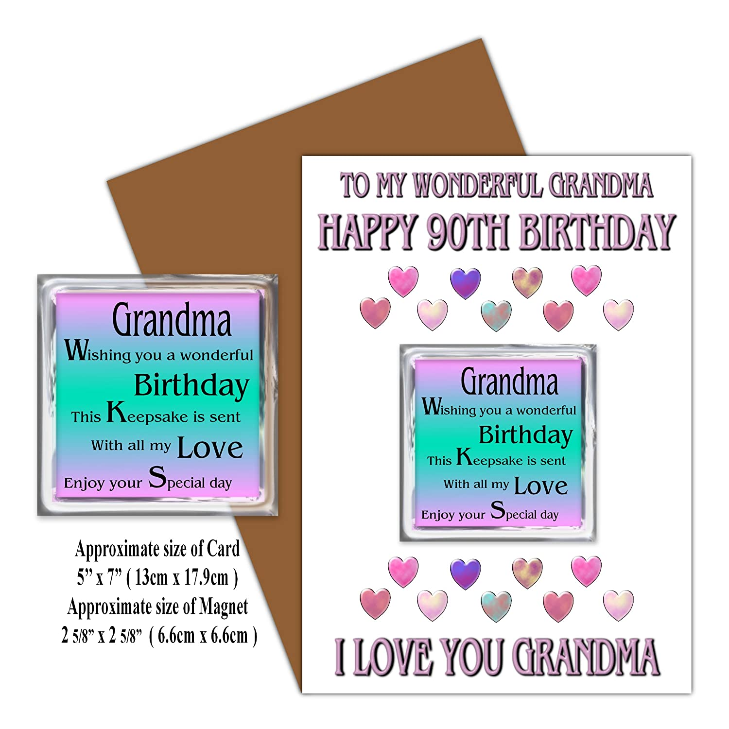 Grandma 90th Happy Birthday Card With Removable Magnet Gift 90