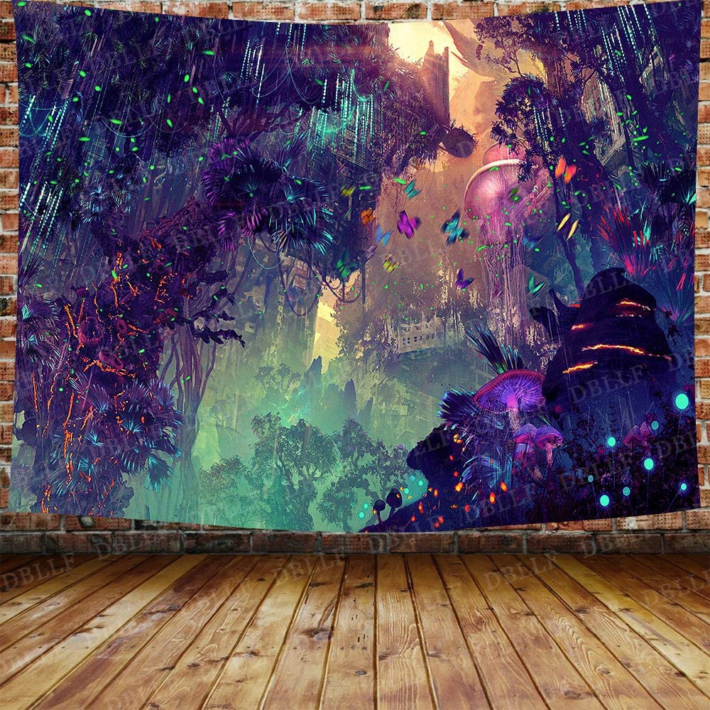DBLLF Psychedelic Forest Mushroom Theme Background Tapestry Trippy Mushroom Tapestry Cartoon Dreamy Butterfly Glowing Forest Colorful Digital Drawing for Home Decor 80X60 Inches DBZY1135