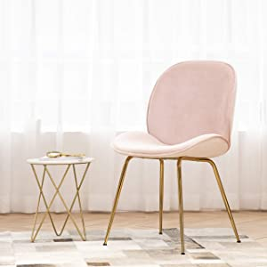 Art Leon Velvet Chair, Mid Century Modern Upholstered Dining Chair with Gold Metal Legs Makeup Vanity Chair for Living Dining Room Bedroom, Blush Pink