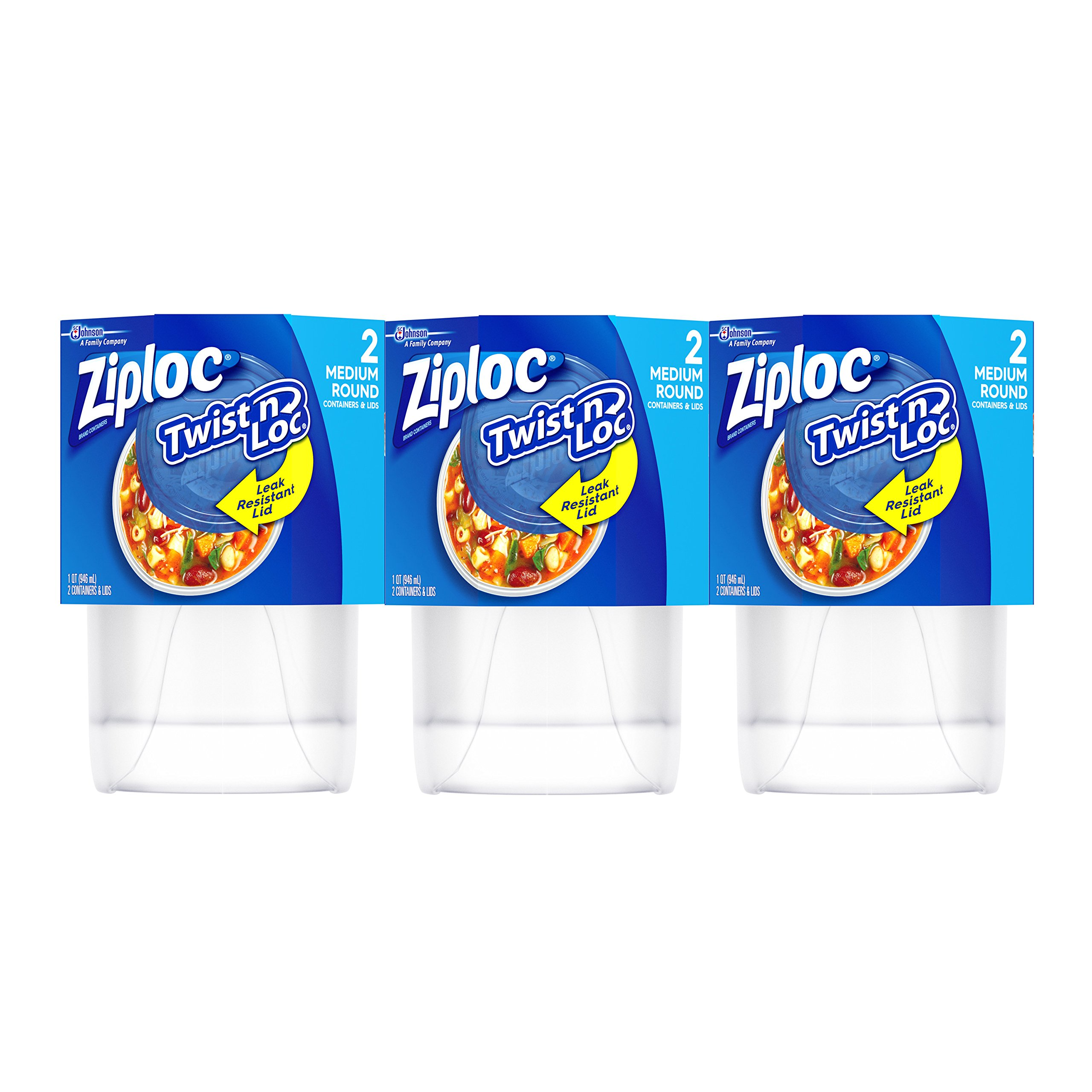 Ziploc Twist ´n Loc Container, Medium, 6 Count