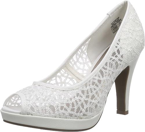 Jane Klain 293 161 Damen Peep Toe Plateau Pumps Hochzeits Schuhe white weiß