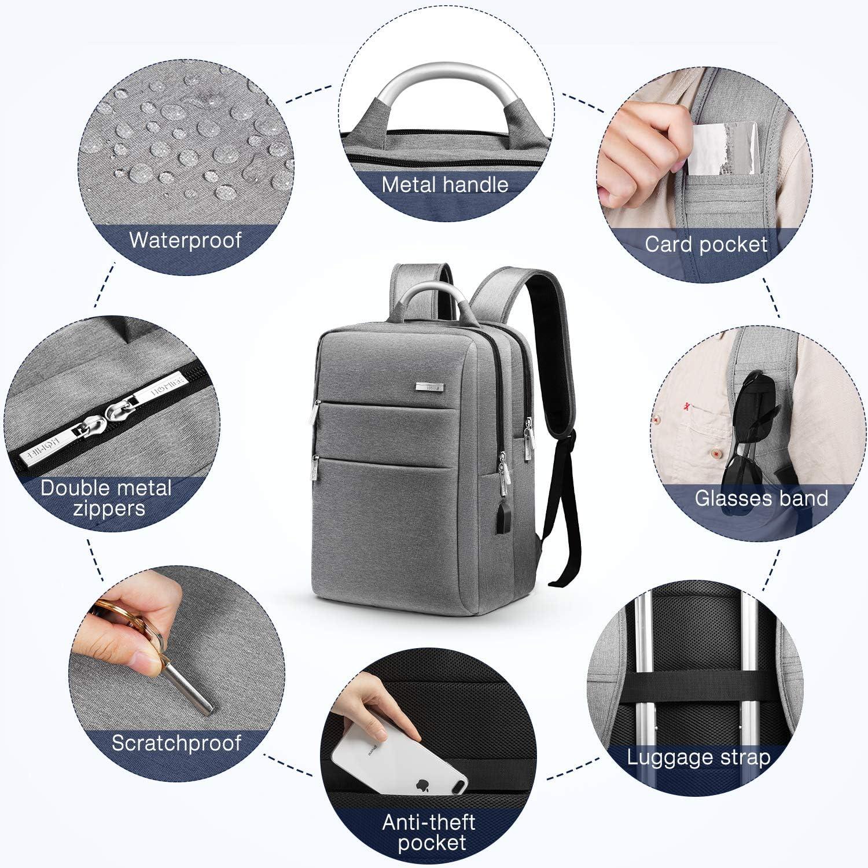 HOMIEE Business Sac /à Dos pour Ordinateur Portable avec Port de Charge USB pour Ordinateurs Portables allant jusqu/à 15 Pouces A Gris