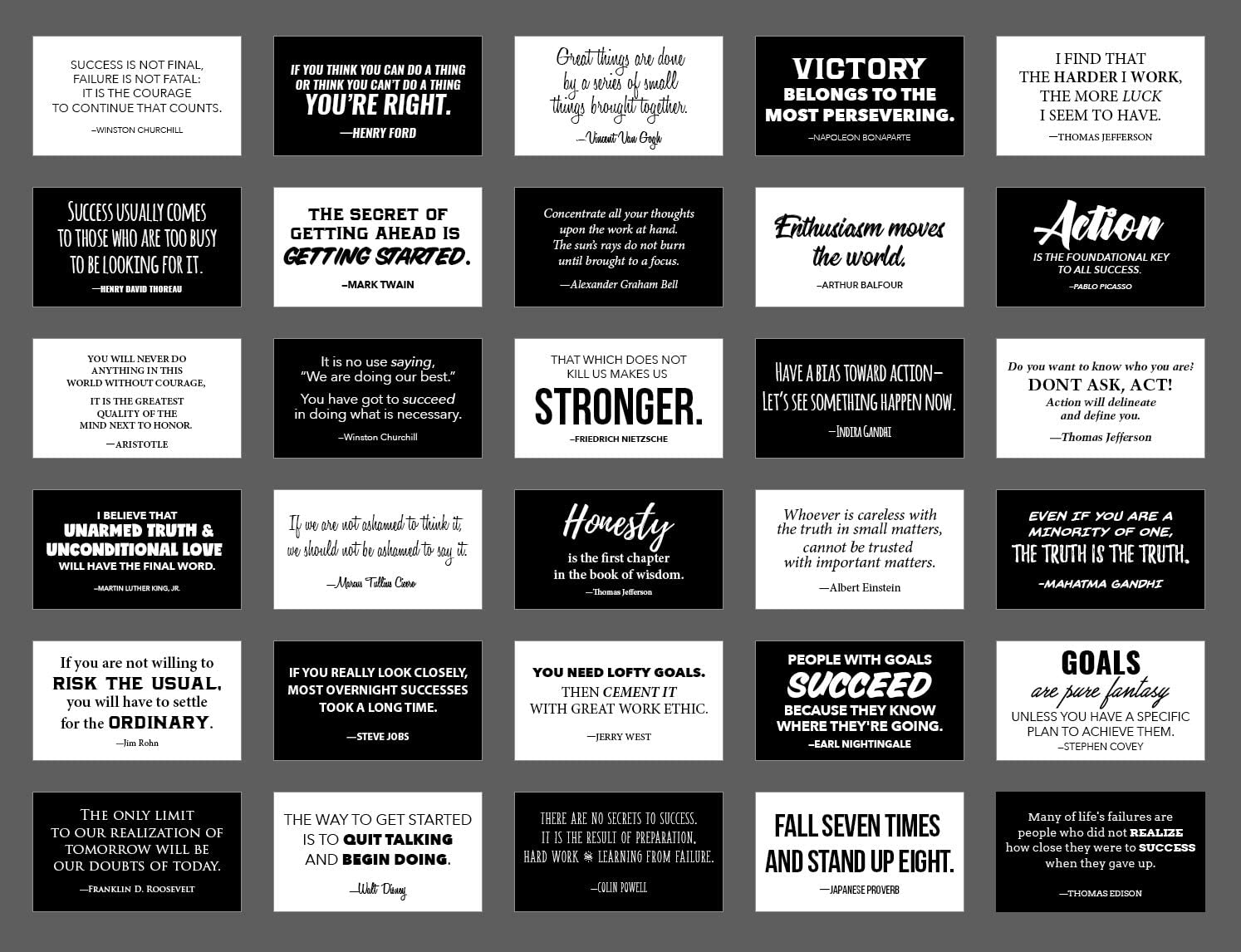 Focus and Zeal Motivational and Inspirational Success Quote Cards in Black and White by Historically Famous Leaders and Innovators - Business Card Size, 30 pcs