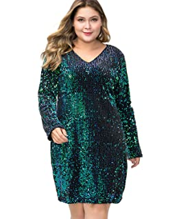 a0854a18 MS STYLE Women's Plus Size Glitter V-Neck Long Sleeve Bodycon Sequin  Cocktail Party Club