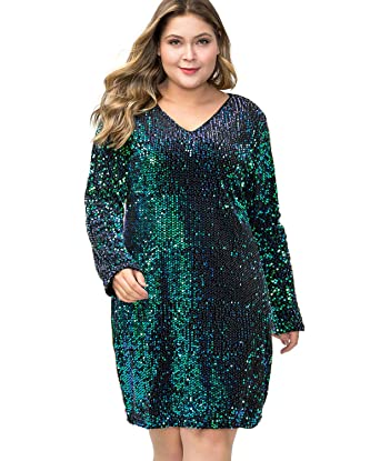 MS STYLE Women\'s Plus Size Glitter V-Neck Long Sleeve Bodycon Sequin ...
