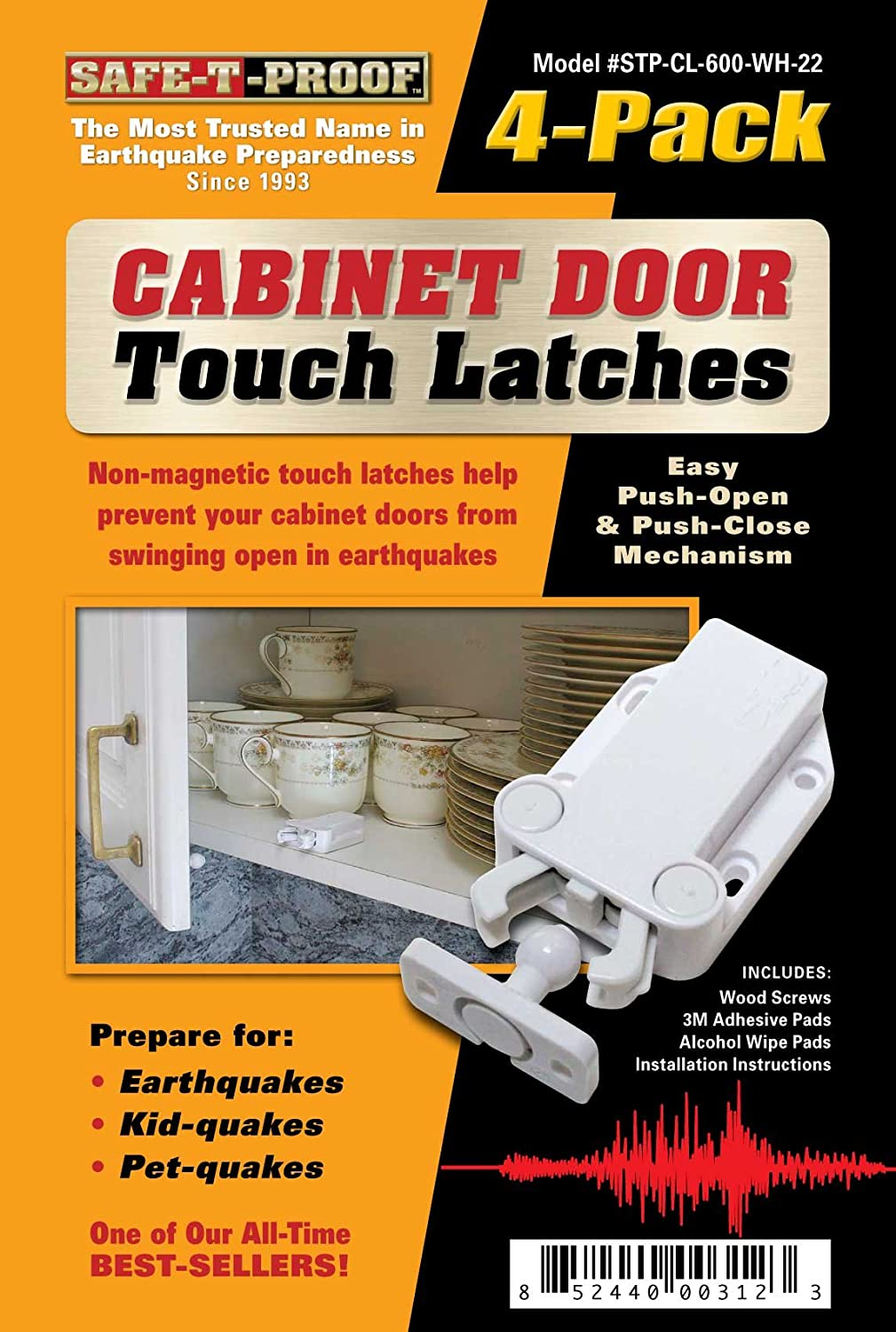 Amazon.com: Safe-T-Proof Cabinet Door Touch Latches, White, 4-Pack ...
