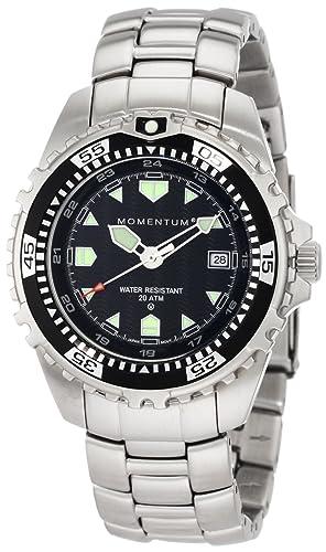 Momentum M1 - Reloj analógico de caballero de cuarzo con correa de acero inoxidable plateada - sumergible a 200 metros: Amazon.es: Relojes
